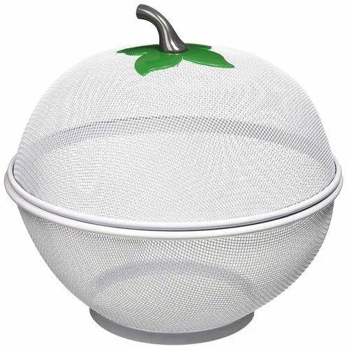 White Round Aluminum Fruit Bowl, Size: 8 Inch