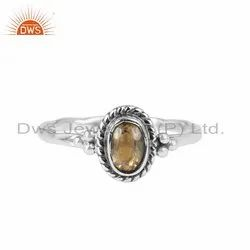 Citrine Gemstone Antique Oxidized 925 Silver Girls Rings