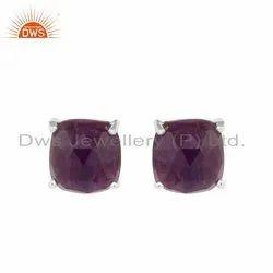 Prong Set Natural Amethyst Gemstone Sterling Silver Stud Earrings