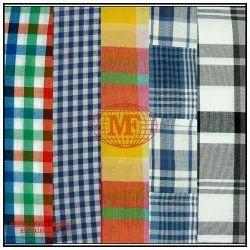 Yellow Orange Bright Checks Fabric, Use: Garments