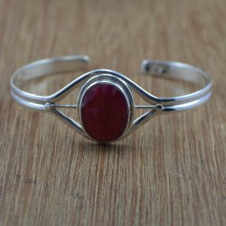 925 Sterling Silver Jewelry Bangles Ruby Gemstone
