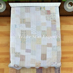 Indian Patchwork Embroidered Kantha Quilt