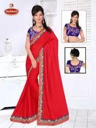 Dyed Rangoli Silk Heavy Embroidery work Saree with Lace - Madhushala
