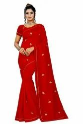 EMBROIDERY Formal Wear Vichitra Silk Saree, 6 m (with blouse piece)