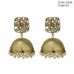 Mehandi Polish Light Weight Jhumka Earrings