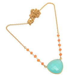 Aqua Chalcedony & Carnelian Gemstone Chain Necklace