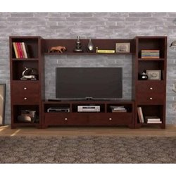Brown Corner Wooden TV Cabinet for Home, Warranty: 2 Year