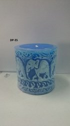 Elephant Impression Pillar Candle
