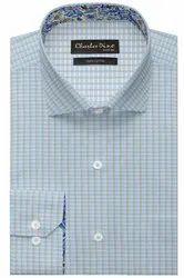 Charles Dino Regular Light Blue Checkered Formal Cotton Shirt