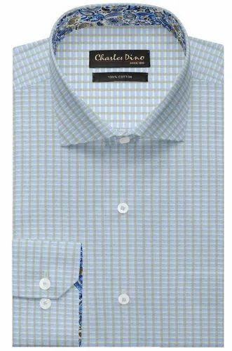 Charles Dino Regular Light Blue Checkered Formal Cotton Shirt