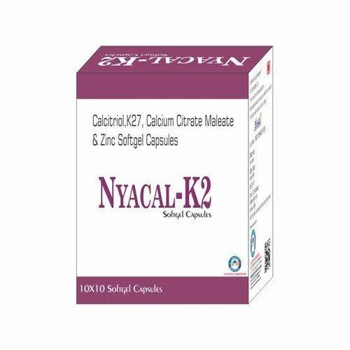 Calcitriol K27 Calcium Citrate Maleate And Zinc Softgel Capsules, Packaging: 10 X 10
