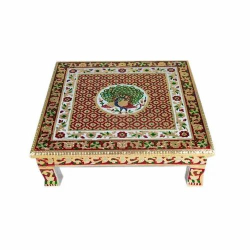 Golden Minakari Wood Decorative Meenakari Pooja Chowki, Size: 16*16inch