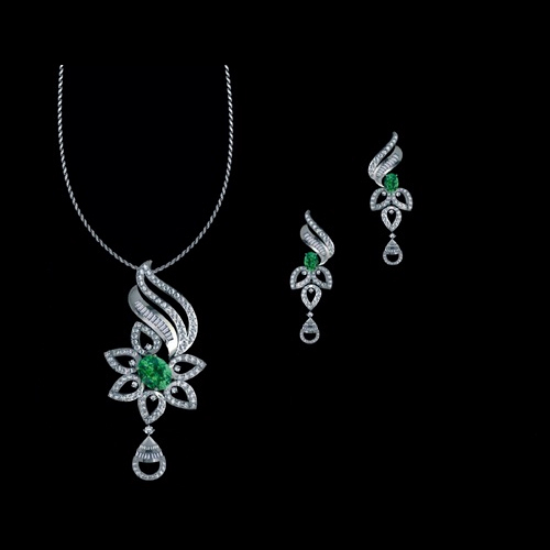 Designer 18k gold diamond pendant set at rs 215000 set heere ke designer 18k gold diamond pendant set aloadofball Image collections