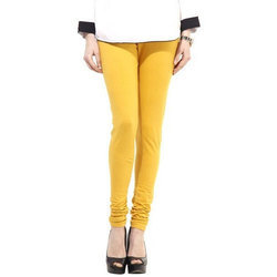 Ladies Yellow Plain Churidar Leggings