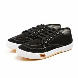 Mens Black Lace Up Canvas Shoes