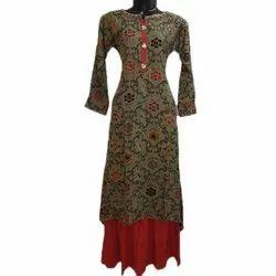 Ladies Party Wear Printed Cotton Kurtis, Size: M