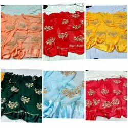 Party Wear Border Sarees, With blouse piece, 5.5 m (separate blouse piece)