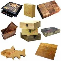 Custom Shape Size Design Wooden Boxes Laser Engraving Wood Type