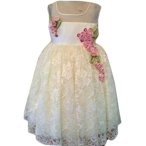 6ce259418927 Cotton, Net Party Wear Kids White Stylish Frocks, Rs 450 /piece | ID ...