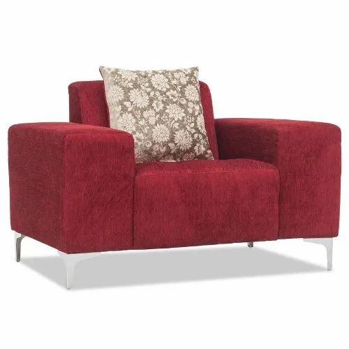 Fabric Red Durian Darren One Seater Leatherette Lounge Seating Sofa
