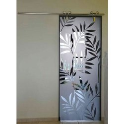Transparent Printed Decorative Glass Door, Thickness: 5-10 Mm