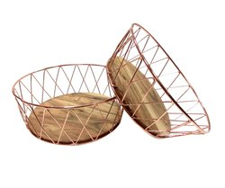Velleitie Modern Fruit Basket With Wooden Base - Set Of 2