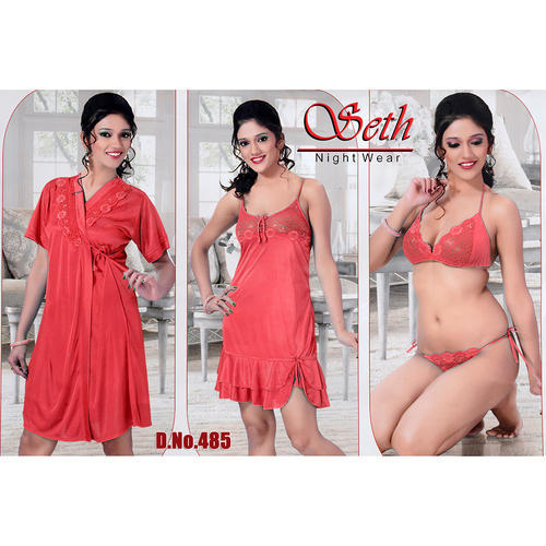 10e0d3520f Satin Ladies Half Sleeve 3 Piece Nighty