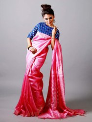 Party Wear Border Linen Saree, 6 m (with blouse piece)
