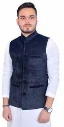 Cotton Blend Party Wear Men Nehru Jackets Black/Waistcoat/Modi Jacket/Sadri, Packaging Type: Poly Bag