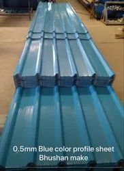 Steel Color Coated Bhushan Corrugated Roofing Sheets, Thickness Of Sheet: 0.16 to 0.63mm