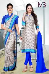 Blue And Grey Italian Crepe Uniform Saree Kurti Combo
