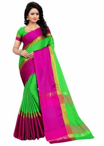 4f627df337e Solid Daily Wear Green Cotton Silk Saree (Green) at Rs 199  piece ...