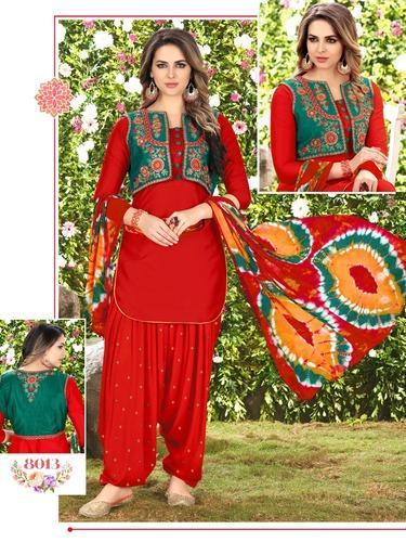 106bdeafb5 Cotton Red Patiala Suits With Embroidery Work Jacket, Rs 1299 /piece ...