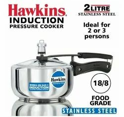 Silver Stainless Steel 2 L Hawkins Induction Pressure Cooker, Packaging Type: Box