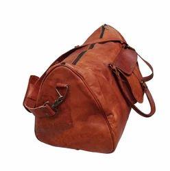 0f905eee5a36 Brown Goat Leather Duffel Gym Travel Bag B 501