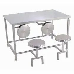 Stainless Steel White Dining tables with folding stools