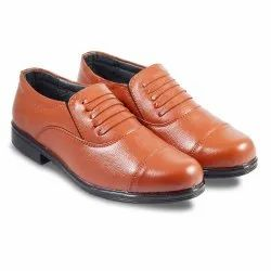 Brown Police Leather Shoes, Size: 5-12