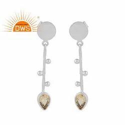 Design Sterling Silver Designer Citrine Gemstone Earrings