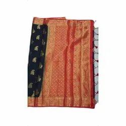 Casual Wear Printed Indian Silk Saree, 5.5 m (separate blouse piece)