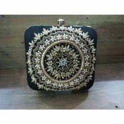 Stylish Party Wear Hand Crafted Designer Zardosi  Clutch Handbag