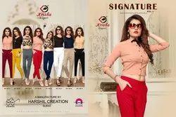 Multicolor Krisha Export Launch Rayon Slub Lycra Pants signeture, Waist Size: 32.0