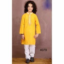Cotton Yellow And White Kids Kurta Pyjama