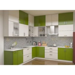 L Shape Italian Wooden Modular Kitchen