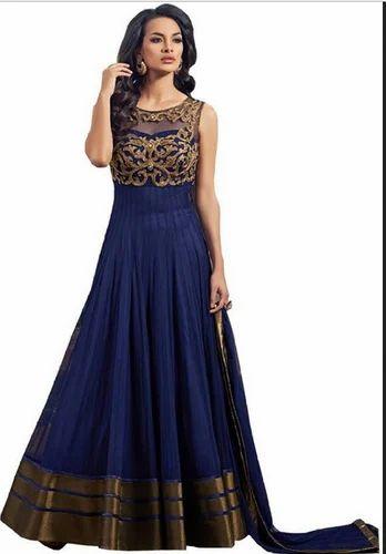 25c6b529127c Blue Ganeshenterprize Georgette Embroidered Semi-Stitched Salwar Suit  Dupatta Material