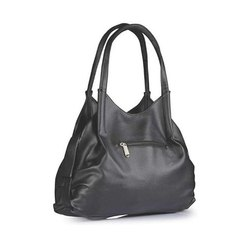 Grey Ladies Genuine Leather Black Hand Bag