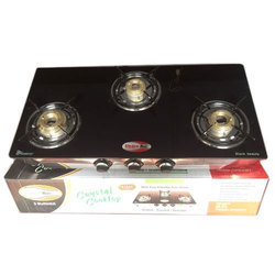 Kitchen Max Black 3 Burner Gas Stove