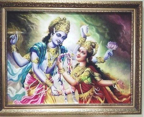 Canvas Lord Vishnu Ji Lordess Luxmi Ji Rs 16000 Piece Dmk