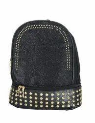 Black Glittering Girls Backpack