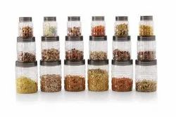 Floraware Tiktik Container Plastic Pet Canister Set, 18 Pieces, Clear - 300 Ml, 650 Ml, 1200 Ml Plastic
