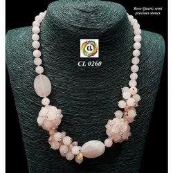 Rose Quartz Semi Precious Stones Necklace